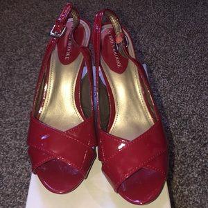 Audrey Brooke dark red open toe cork heel sling